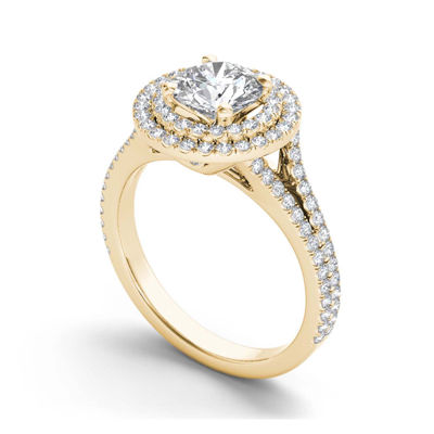 1 1/2 CT. T.W. Diamond 14K Yellow Gold Halo Engagement Ring