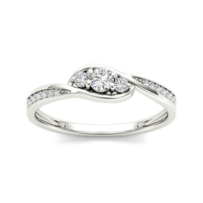 1/5 CT. T.W. Diamond 10K White Gold 3-Stone Engagement Ring