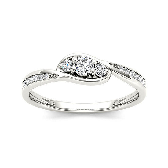 1/5 CT. T.W. Diamond 10K White Gold 3-Stone Engagement Ring