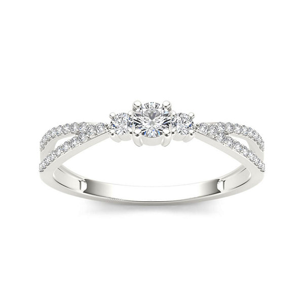 1/4 CT. T.W. Diamond 10K White Gold 3-Stone Engagement Ring