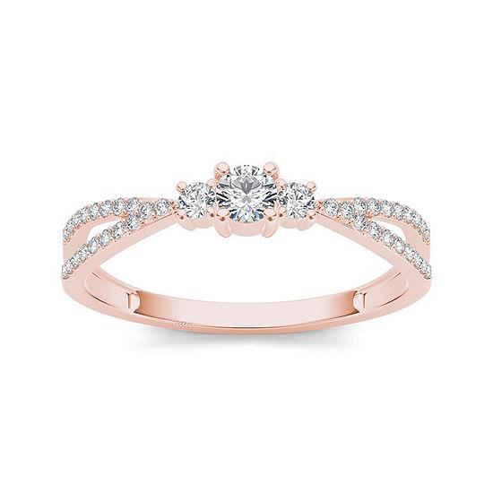 1 4 Ct Tw Diamond 10k Rose Gold 3 Stone Engagement Ring