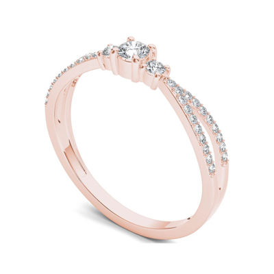 1/4 CT. T.W. Diamond 10K Rose Gold 3-Stone Engagement Ring