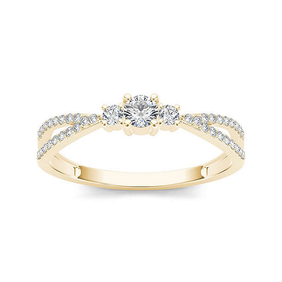 1/4 CT. T.W. Diamond 10K Yellow Gold 3-Stone Engagement Ring