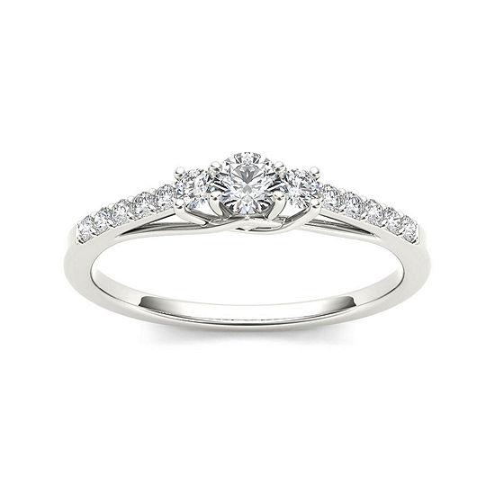 1/3 CT. T.W. Diamond 10K White Gold 3-Stone Engagement Ring