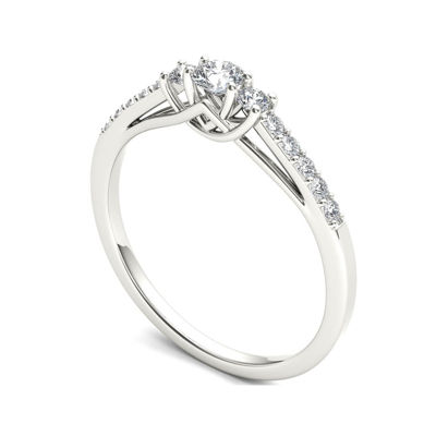1/3 CT. T.W. Diamond 10K White Gold 3-Stone Engagement Ring