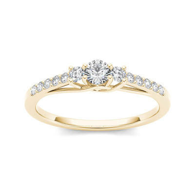1/3 CT. T.W. Diamond 10K Yellow Gold 3-Stone Engagement Ring