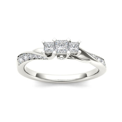 1/2 CT. T.W. Diamond 10K White Gold 3-Stone Engagement Ring