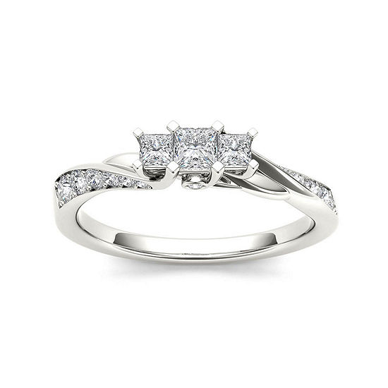 1 2 Ct Tw Diamond 10k White Gold 3 Stone Engagement Ring