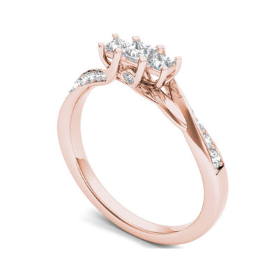 1/2 CT. T.W. Diamond 10K Rose Gold 3-Stone Engagement Ring