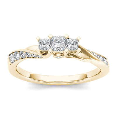 1/2 CT. T.W. Diamond 10K Yellow Gold 3-Stone Engagement Ring