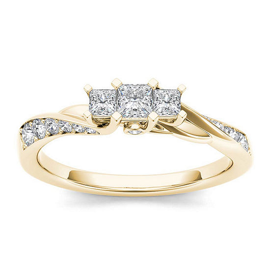 1 2 Ct Tw Diamond 10k Yellow Gold 3 Stone Engagement Ring