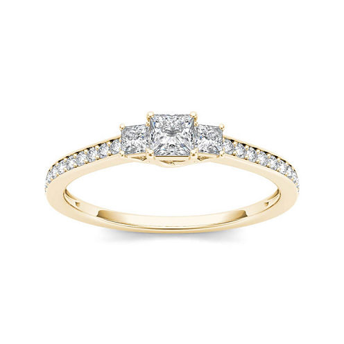 1/2 CT. T.W. Diamond 14K Yellow Gold 3-Stone Engagement Ring