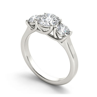 1 1/2 CT. T.W. Diamond 14K White Gold 3-Stone Engagement Ring