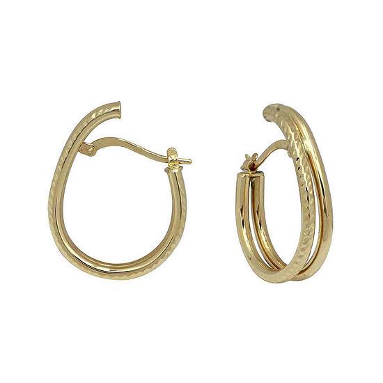 14k Yellow Gold Split Oval Hoop Earrings