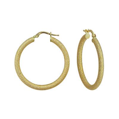 14K Yellow Gold Glitter Hoop Earrings