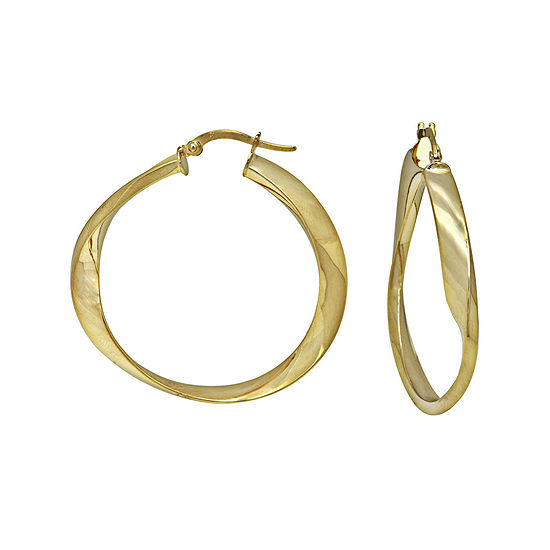 Made in Italy 14K Yellow Gold Twisted Polished Hoop Earrings