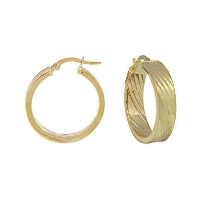 14K Yellow Gold Diamond Cut Slashes Hoop Earrings
