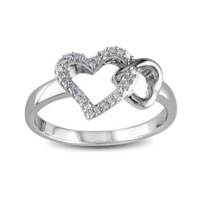 1/10 CT. T.W. Diamond Sterling Silver Heart Ring