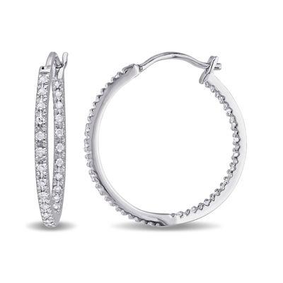 1/4 CT. T.W. Diamond Sterling Silver Hoop Clip Earrings