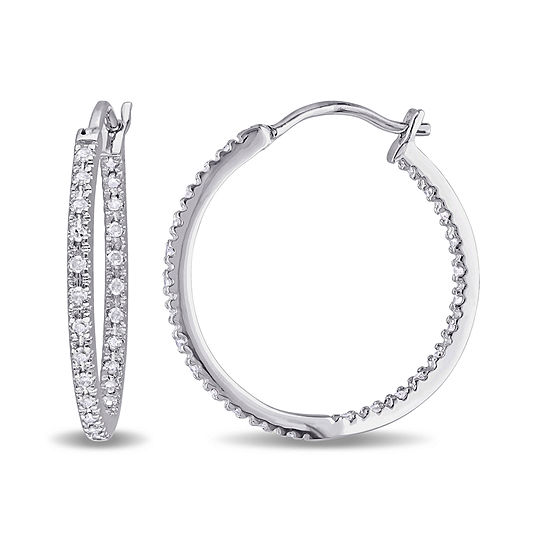T W Diamond Sterling Silver Hoop Clip Earrings