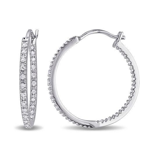 T W Diamond Sterling Silver Hoop Clip Earrings