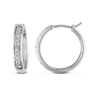 1/3 CT. T.W. Diamond Sterling Silver Hoop Clip Earrings