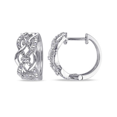1/10 CT. T.W. Diamond Sterling Silver Hoop Earrings