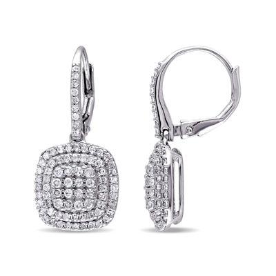 1 CT. T.W. Diamond Sterling Silver Cluster Drop Earrings