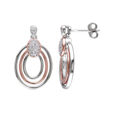 1/6 CT. T.W. Diamond Sterling Silver & Rose Gold Over Silver Circle Drop Earrings