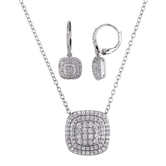 1 CT. T.W. Diamond Sterling Silver Pendant and Earring Set