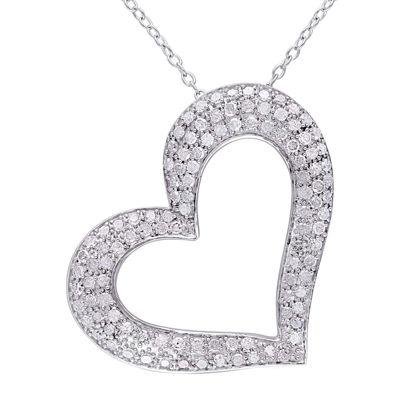 1 CT. T.W. Diamond Sterling Silver Heart Pendant