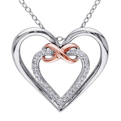 1/10 CT. T.W. Diamond Sterling Silver with Rose Gold Over Silver Heart Pendant Necklace