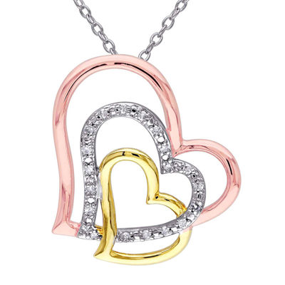 1/10 CT. T.W. Diamond Tri-Tone Heart Pendant Necklace