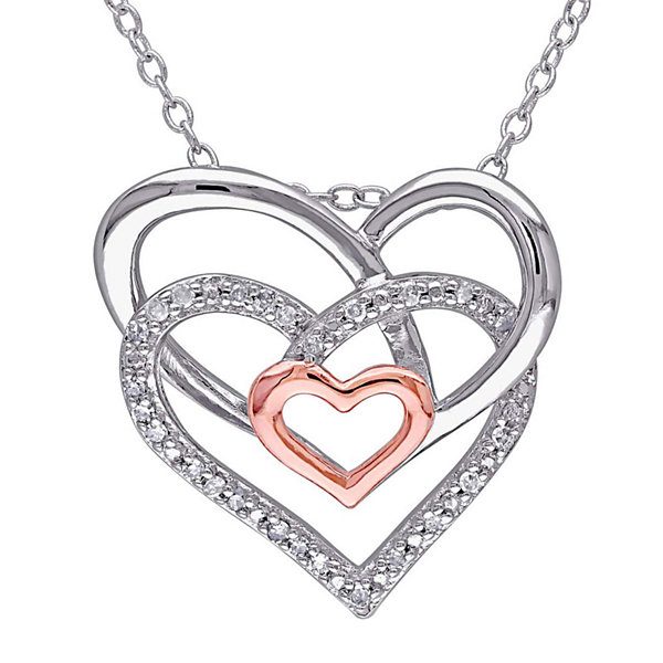 1/10 CT. T.W. Diamond Sterling Silver Heart Pendant Necklace