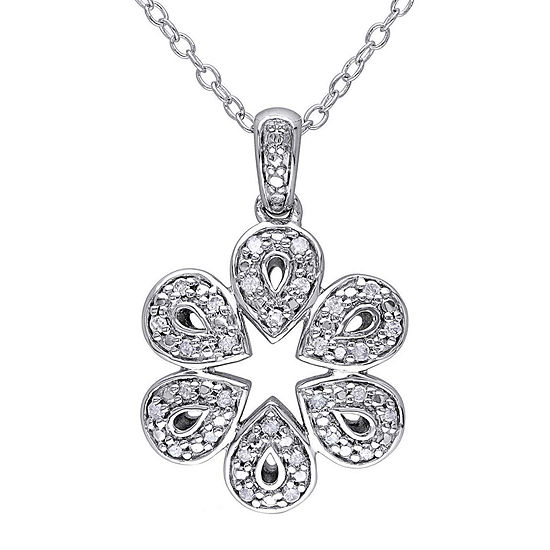 1/8 CT. T.W. Diamond Sterling Silver Pendant Necklace