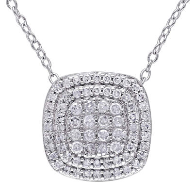 1/2 CT. T.W. Diamond Sterling Silver Pendant Necklace