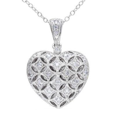 1/7 CT. T.W. Diamond Sterling Silver Heart Pendant Necklace