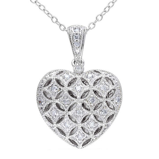 1 7 Ct Tw Diamond Sterling Silver Heart Pendant Necklace