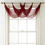 Home Expressions Lisette Sheer Tab-Top Beaded Waterfall Valance