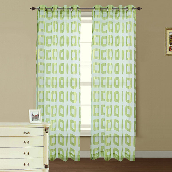 Retro Jacquard Sheer Grommet-Top Curtain Panel