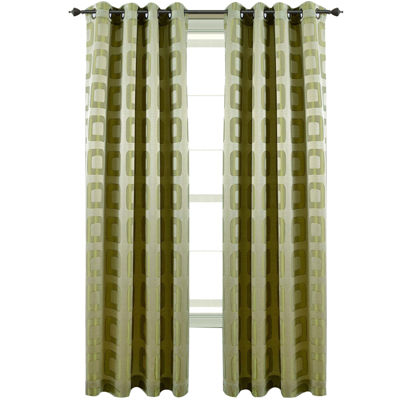 Retro Jacquard Grommet-Top Curtain Panel