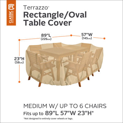 Classic Accessories® Terrazzo Medium Rectangle or Oval Table & 6 Chairs Cover