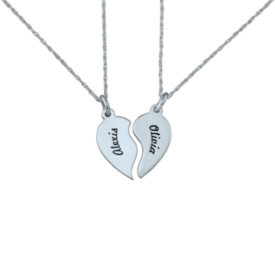 Personalized Best Friends Half-Heart Necklaces