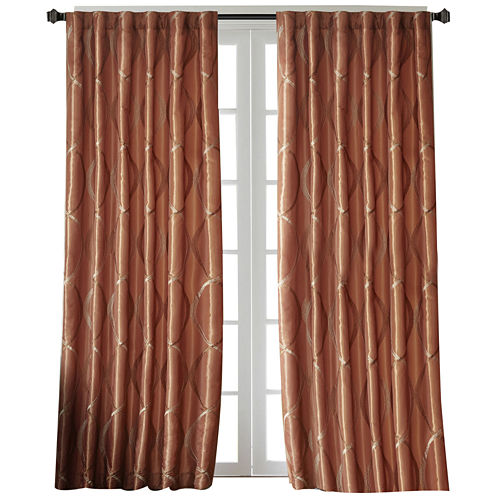 Marcel Embroidery Taffeta Rod-Pocket Curtain Panel