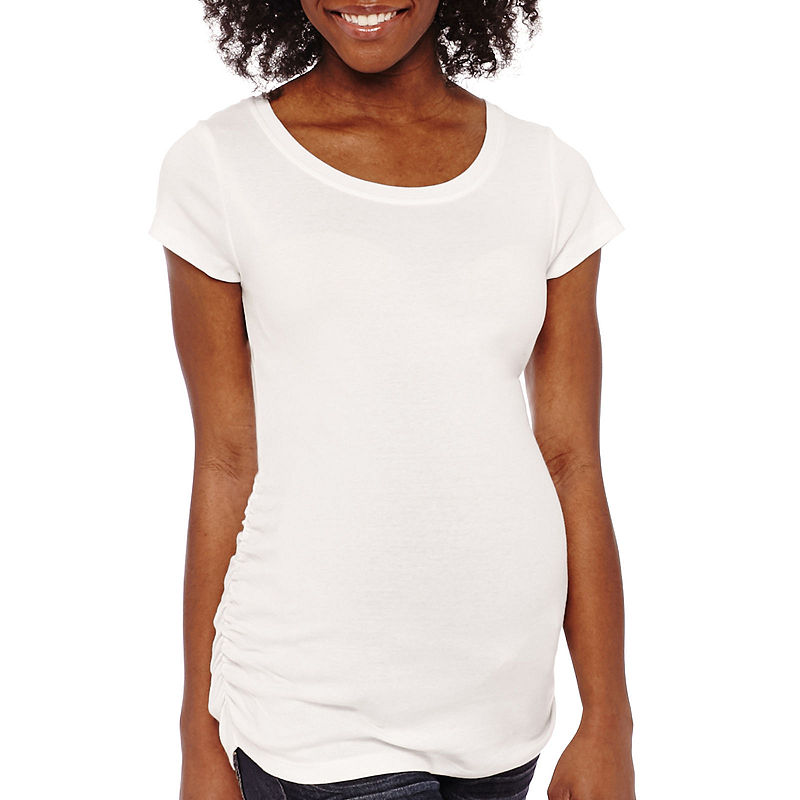 Planet Motherhood Short Sleeve Ruched-Side Tee - Plus plus size,  plus size fashion plus size appare