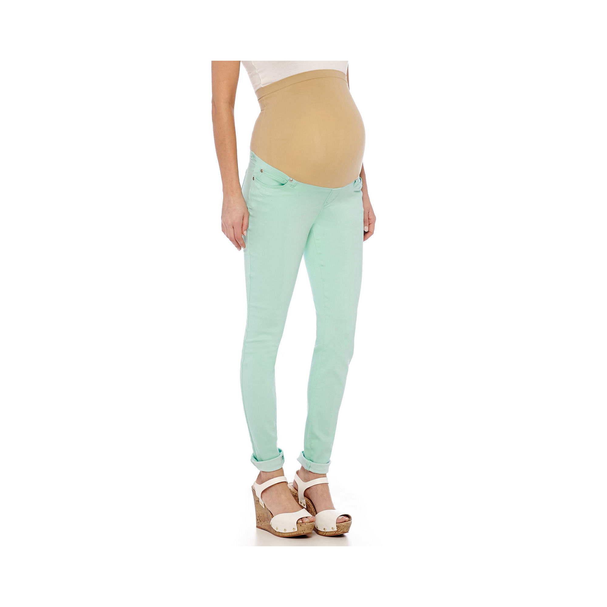 Maternity Overbelly Colored Skinny Pants - Plus plus size,  plus size fashion plus size appare