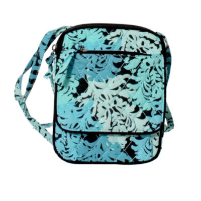 Waverly Blue Green Quilted Wos Crossbody Bag