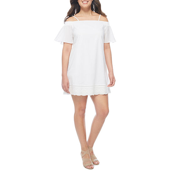 a.n.a Off the Shoulder Embroidered Shift Dress