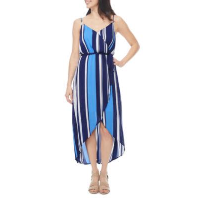 a.n.a Sleeveless Stripe Wrap Dress