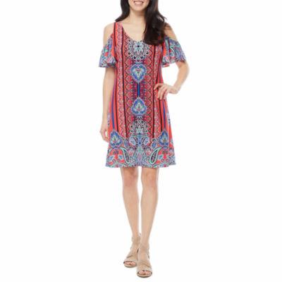 Msk Short Sleeve Cold Shoulder Shift Dress